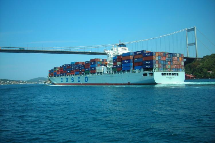 A cargo vessel passing through Bosphorus Strait